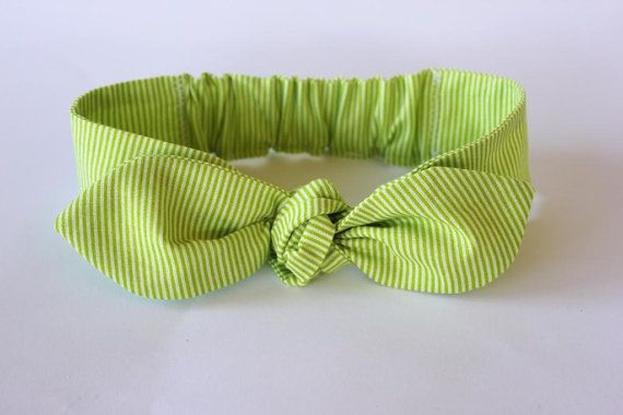 Baby headband chartreuse lime green baby knot by ElleBelleBliss $12 AUD
