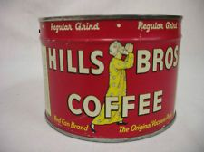 VINTAGE NEW OLD STOCK 1LB HILLS BROTHERS COFFEE TIN WITH KEY FULL NEVER OPENED