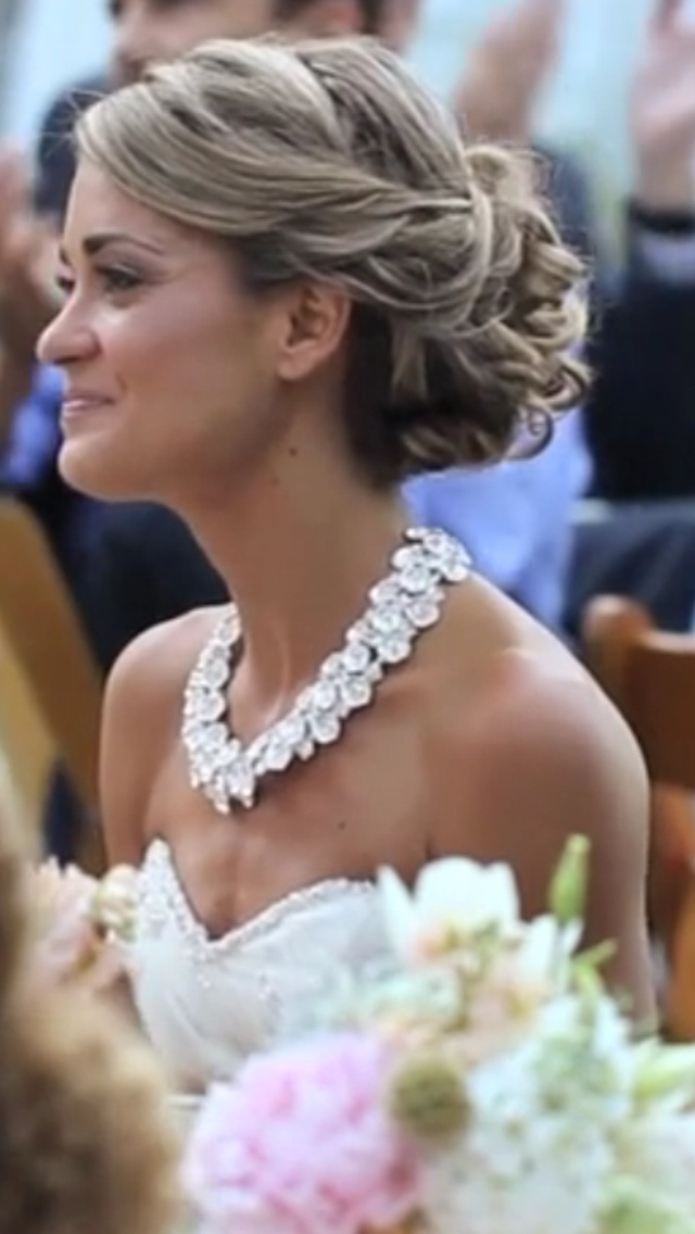 Bridal hair updo. Statement Necklace. Gorgeous !