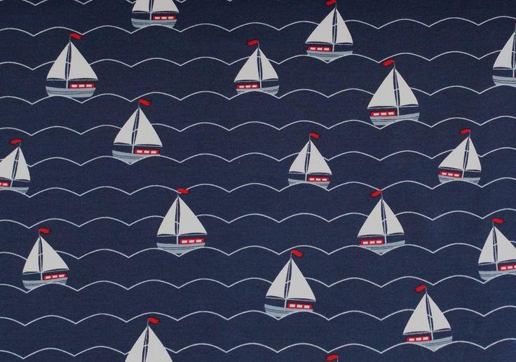 Kinderstoffe - 1183 Jersey Segelboot Blau Weiß Rot - ein Designerstück von pretty-child bei DaWanda