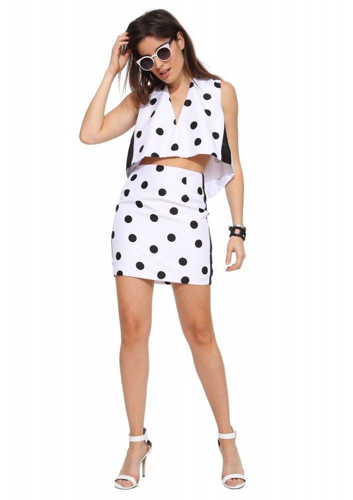 Carla Dot Mini Skirt in Black/white   Necessary Clothing