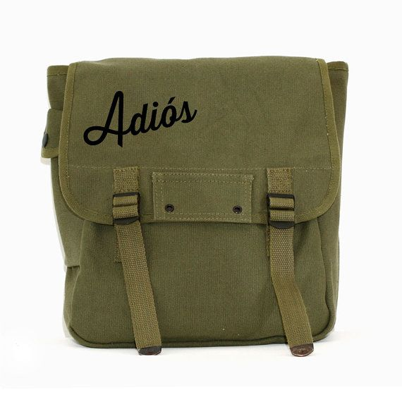 Backpack Adios Canvas Rucksack Travel Bag Hipster by mediumcontrol