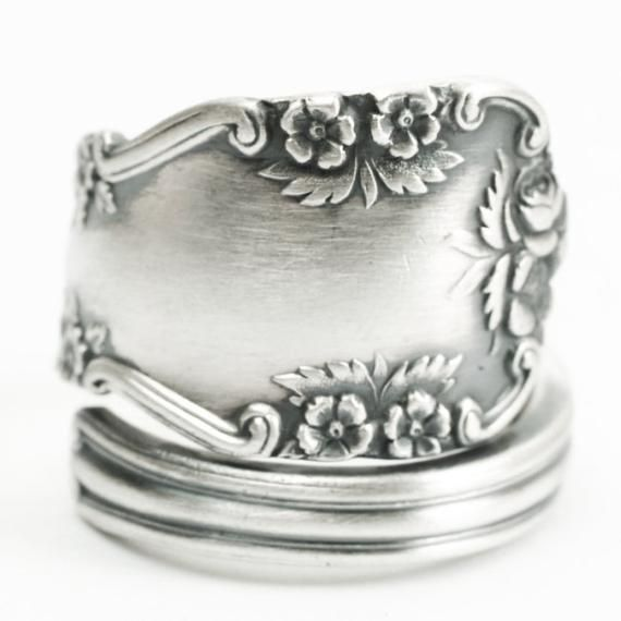 Sterling Silver Wild Rose Spoon Ring Floral Victorian Ring Victorian Rings Sterling Silver Spoon Ring Silver Roses