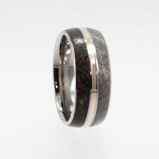 dinosaur bone wedding ring meteorite ring dinosaur bone wedding band with a 14k 3550