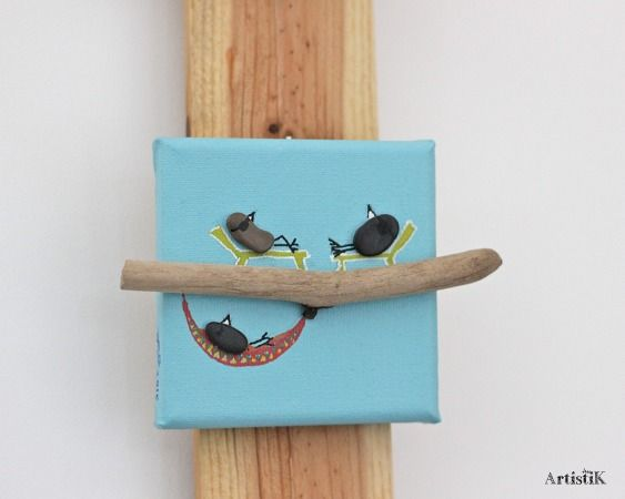 Tableau galets oiseaux bois flotté bleu pastel bain soleil mini format 10x10