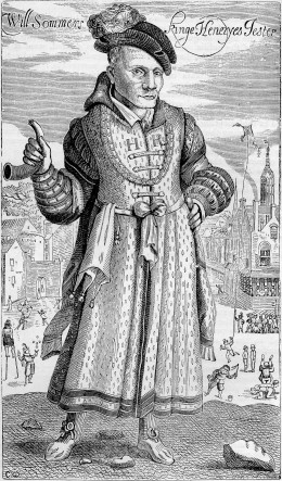 An engraving of Will Sommers, court jester to King Henry VIII