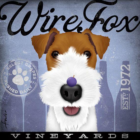 Wire Fox Terrier Wine Company original graphic art by geministudio, $79.00