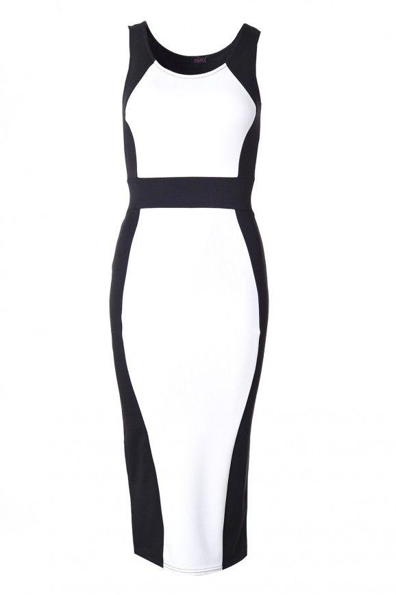 Hannah Midi Dress in Black and Cream