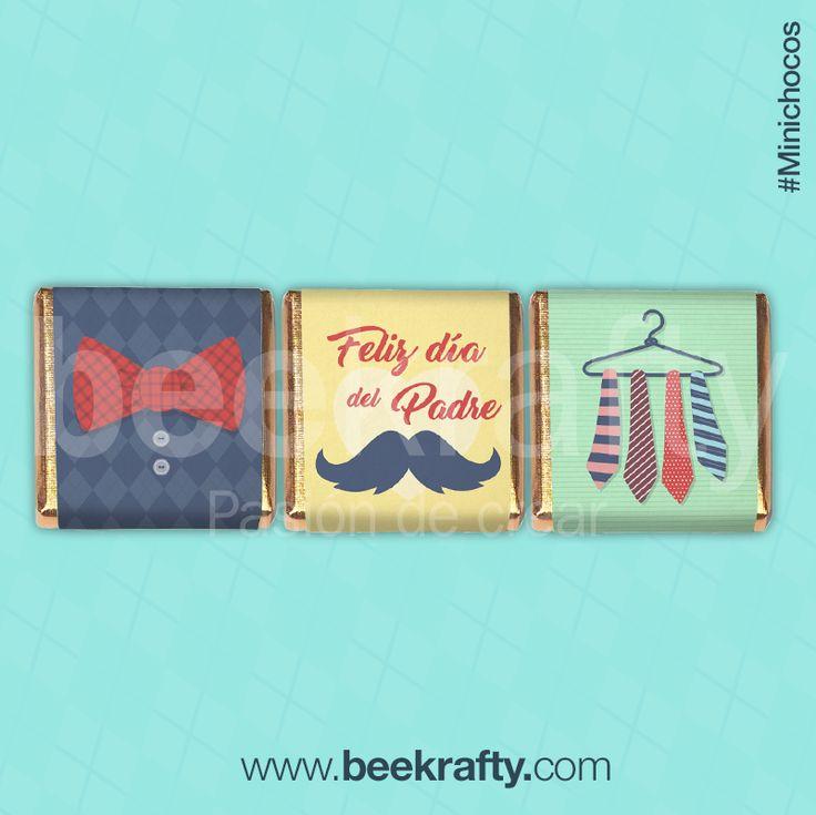 Minichocos para el Día del Padre.  Los personalizamos con lo que quieras. Solo o en bolsitas. ¡Como los quieras! www.beekrafty.com #minichocos #personalizados #beekrafty #pasionporcrear