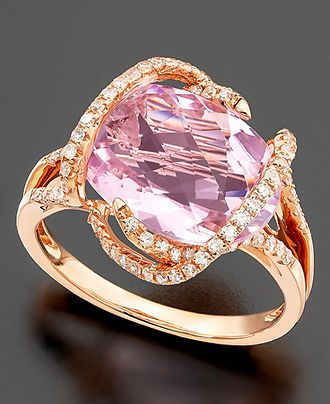 Effy Collection 14k Rose Gold Ring, Pink Amethyst (7-3/4 ct. t.w.) and Diamond (3/8 ct. t.w.) - Rings - Jewelry & Watches - Macy's