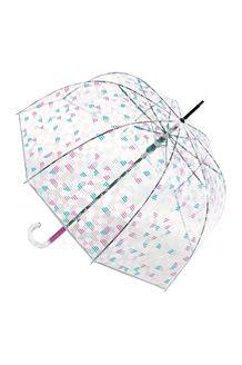 Parapluie cloche<BR>Transparent et fuchsia