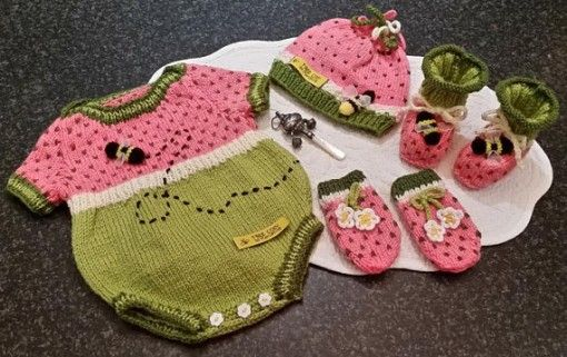 Watermelon Baby Onesie Romper set Pattern  by Marcelline Simonotti found at www.tbeecosy.com