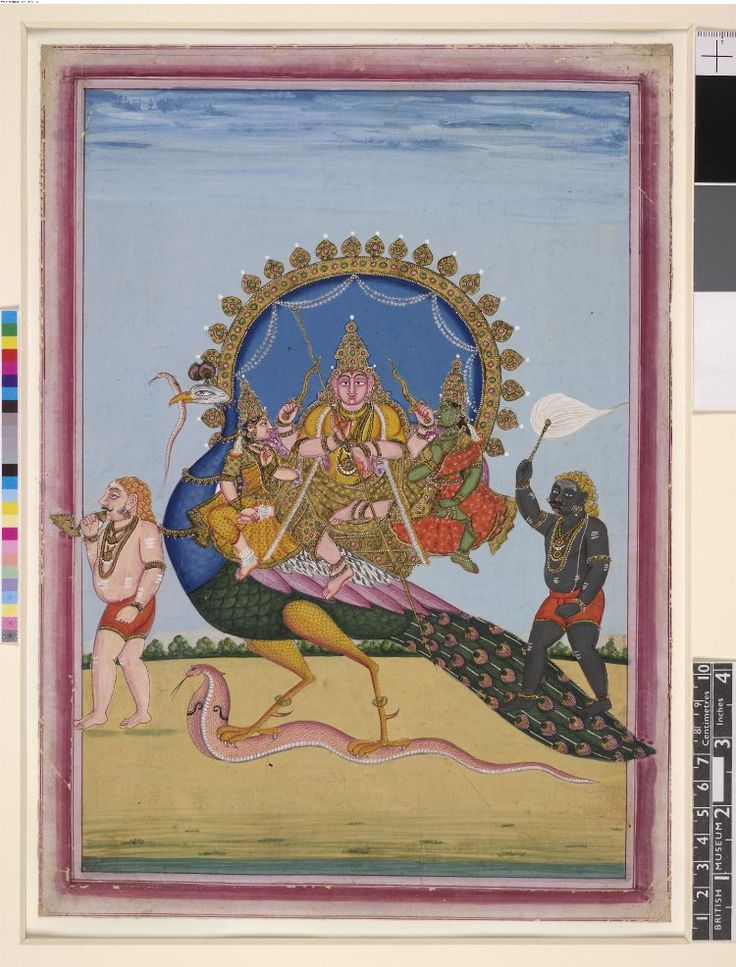 Gouache painting on paper from a set of eight paintings of deities and…