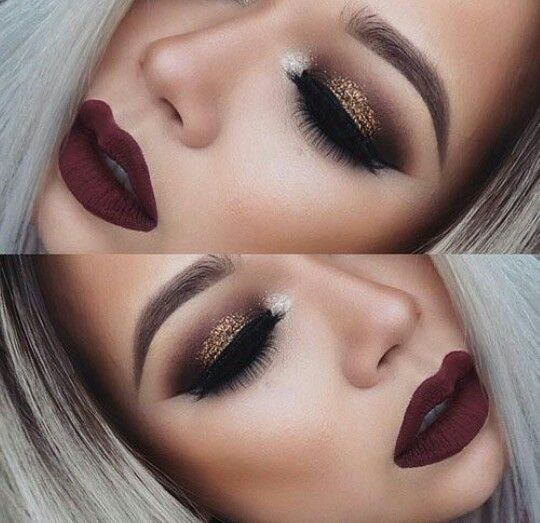 Deep brown glitter smoky eye and a deep red