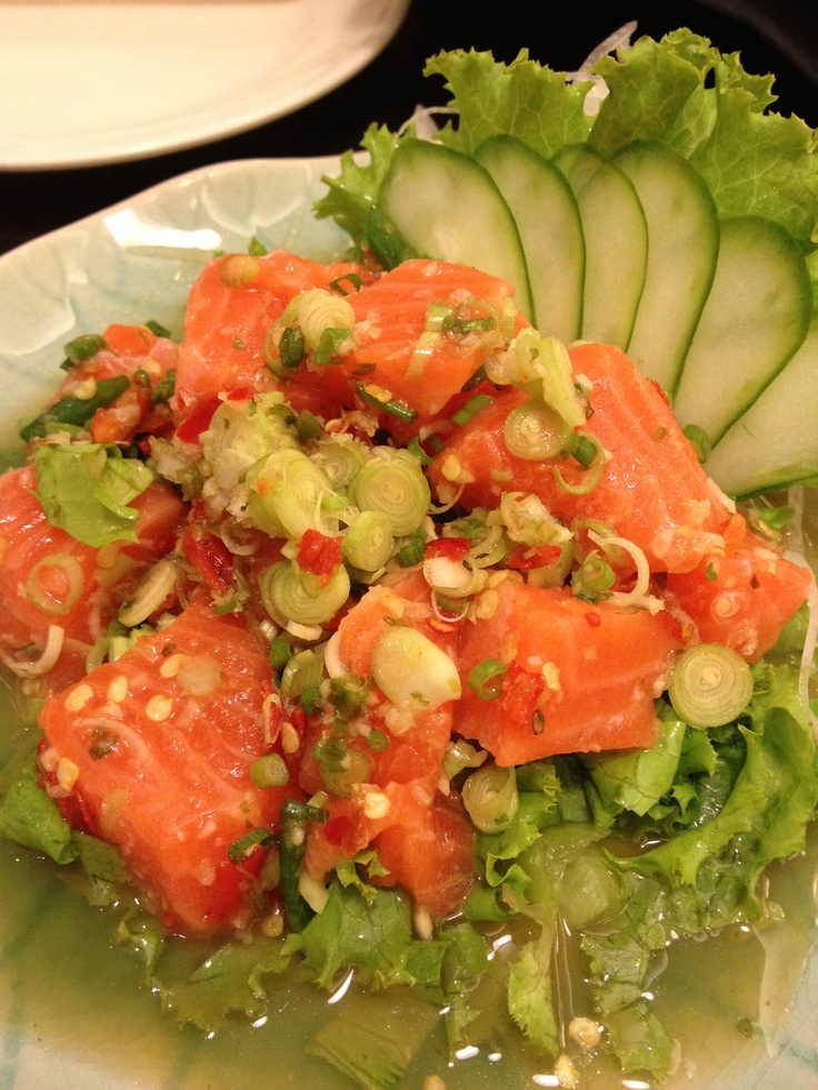Thai Salmon salad with spicy and super yummy.....