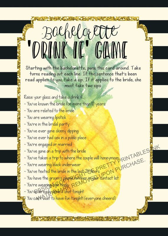 Printable bachelorette game/ bachelorette drinking game / bachelorette party game / drink if game / take a sip game / pineapple bachelorette by PrettyPrintablesInk