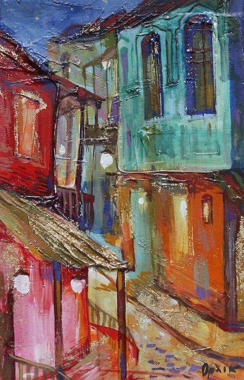Original Small Landscape Painting Acrylic colors 30x20cm Art on canvas Wall Art Home Decor by Inna Orlik