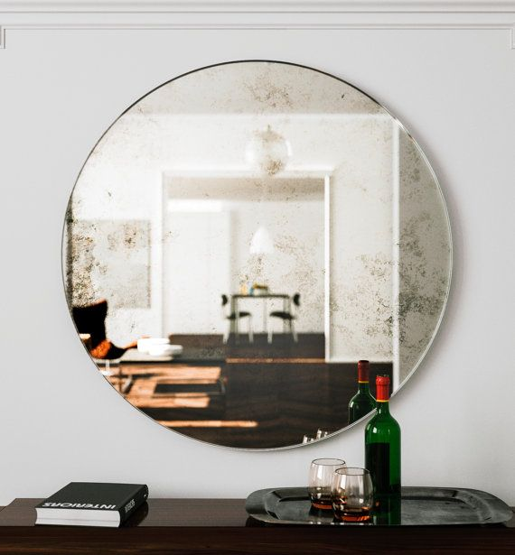 Large Wall Mirror Unique Round Art Deco Hanging Glass