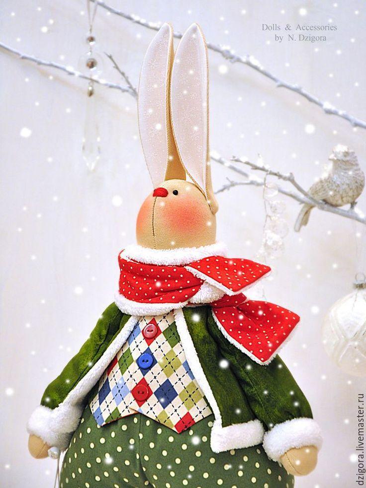 Купить Рождественский кролик Кристофер - заяц, зайцы, игрушка заяц, заяц игрушка, заяц тильда