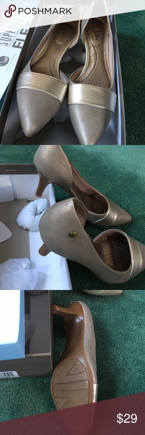 Life stride gold metallic pumps. BNIB. SIZE 7.5 Never worn comfortable shoe. Low heel. Nice metallic color. Life Stride Shoes Heels