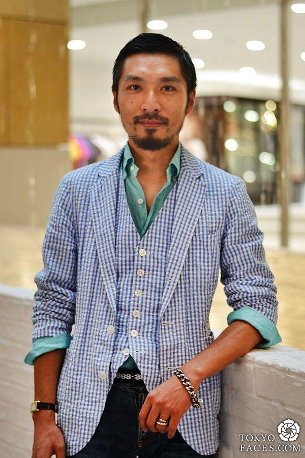 [Men's Blue Gingham Check Elegance] Model Name: Akira, Jacket, Vest, Shirt: United Arrows, Jeans: United Arrows, Shoe: Beauty  Youth, Watch: Cartier, Bracelet: Chrome Hearts #MenSummer2013 #Harajuku