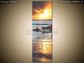 Tlačený obraz s hodinami Západ slnka nad oceánom 30x90cm ZP2482A_3V