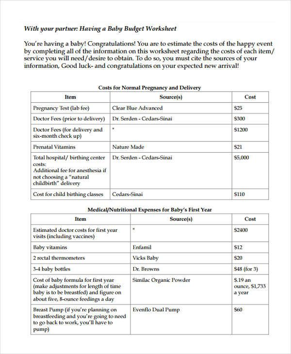 Baby Budget Templates 9 Free Printable Xlsx Word Pdf Formats Baby On A Budget Budget Template Free Budget Template