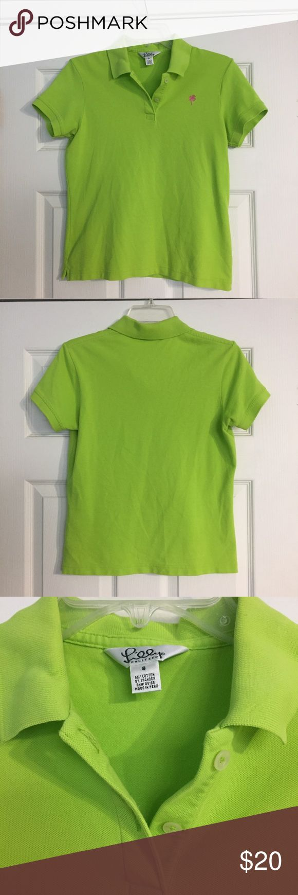 Lilly Pulitzer lime green polo Lilly Pulitzer lime green polo shirt.  Size 8, but is fitted. Would be great for a size 6 if you want a little room.  Pink palm tree logo.  Has been worn a few times but the color is still vibrant. Lilly Pulitzer Tops Tees - Short Sleeve