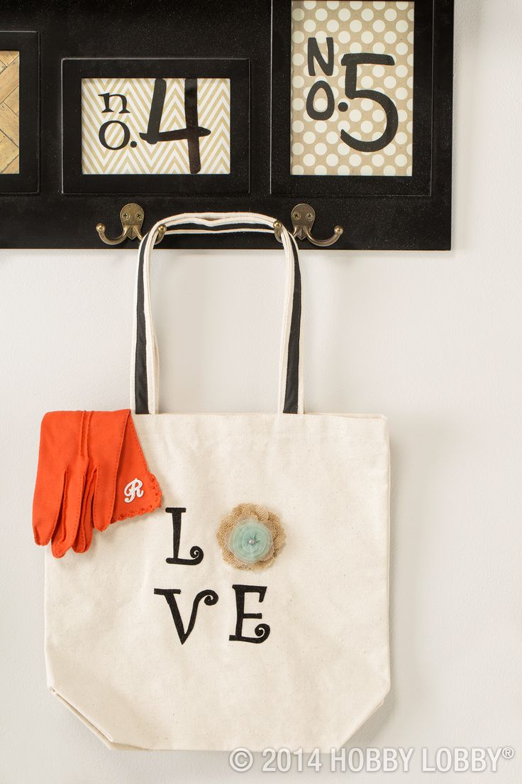 """We """"LOVE"""" transforming plain tote bags into items that are all you. Click for more create style ideas."""