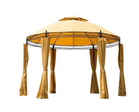 Patio Gazebo Canopy Tent Outdoor Furniture 11' Round Curtains ...