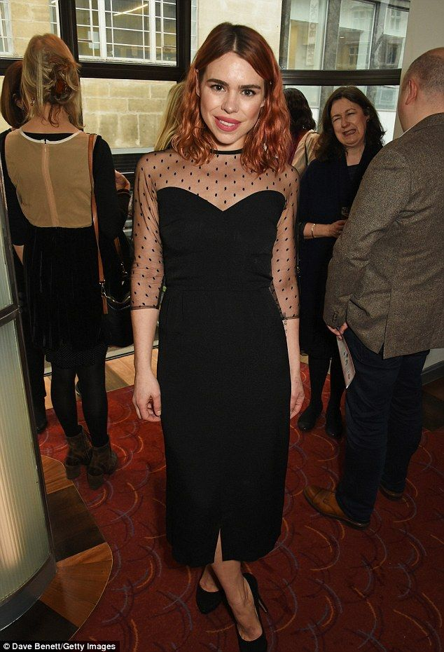 Chic:The auburn-haired beauty looked pretty in the LBD, which featured a sheer polka-dot ...
