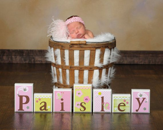 Baby Photo Shoot Prop . ROUTED EDGE . Name Blocks . Nursery Decor . Baby Name Blocks . Wood Name Blocks . Bedding . M2M Sweet Pea Paisley on Etsy, $15.00