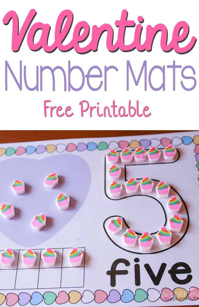 These free printable Valentine Number Mats for 1-10 are such a fun way to practice numbers! You can use them with play dough, pom poms, erasers and so much more!