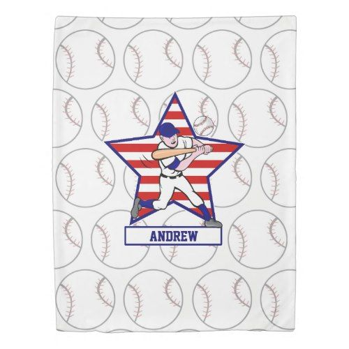 Personalized Stars and Stripes Baseball Batter v1 Duvet Cover