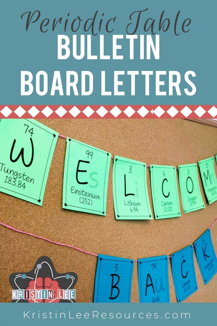 Elements A Z Bulletin Board Letters Version 2 Science For