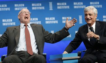 """Three Rich Treasury Secretaries Laugh It Up Over Income Inequality: Former Treasury Secretaries Henry Paulson (left) and Robert Rubin have a good laugh about income inequality. Three of the world's richest and most powerful people (and Timothy Geithner) had a good laugh over income inequality earlier this year.  Paulson responded that he'd been working on income inequality since his days at Goldman Sachs. """"You were increasing it!"""" cracked Rubin, as everyone on stage roared with laughter."""