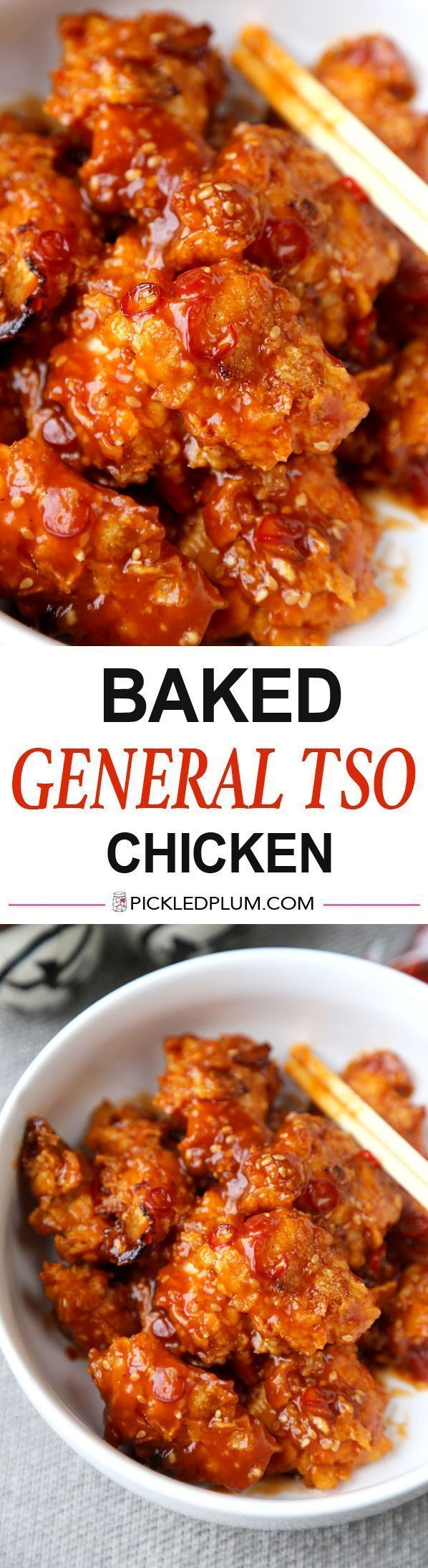 "Baked General Tso Chicken Recipe - Crushed Cornflakes imitate fried chicken so well you'll forget you are eating healthy! Recipe, Chinese, chicken, baked, healthier, main, dinner | <a href="""" rel=""nofollow"" target=""_blank"">www.pickledplum.c...</a>"