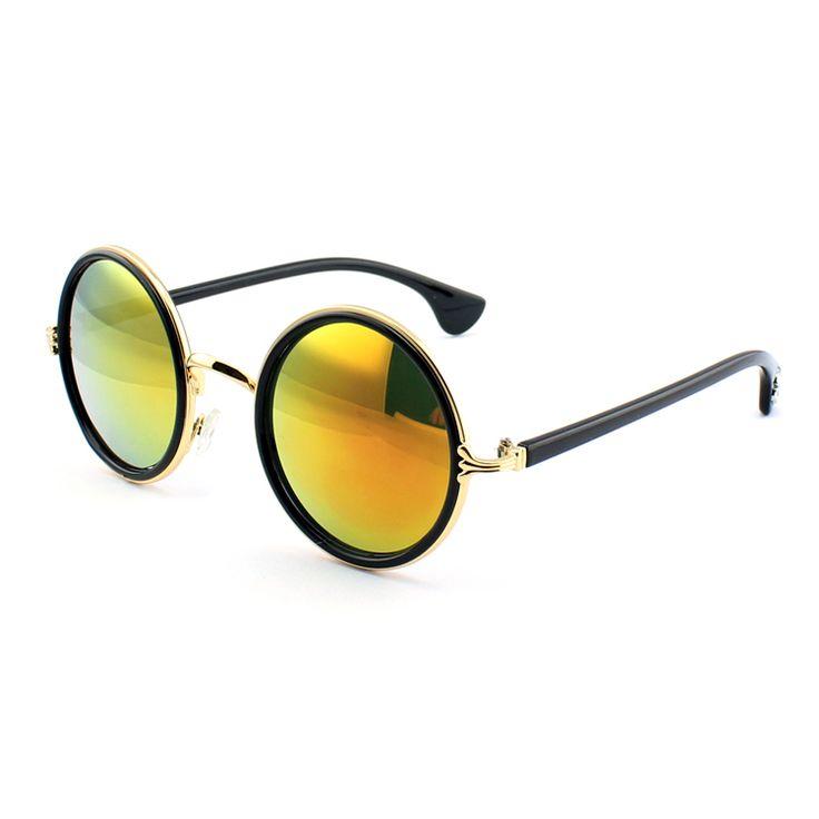 Gafas redondas lente amarillo espejo