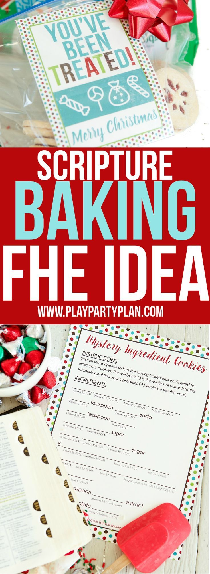 Fun LDS family home evening idea that's great for kids, for teens, or even for couples to do together. Read the scriptures to find the missing ingredients, bake cookies, and use the free printable Christmas treat gift tags to give to friends and family. One of the most fun activities I did as a kid! #LightTheWorld Sponsored