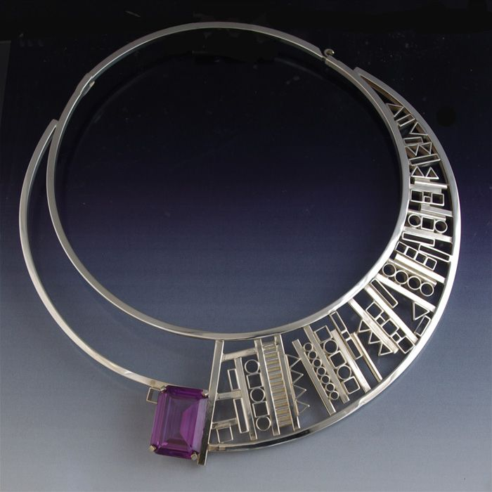 Necklace | Aaron Rubinstein.  Sterling silver,  with a faceted oval shaped lab alexandrite