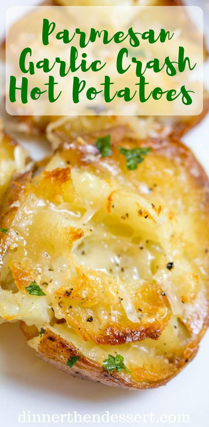 Parmesan Garlic Crash Hot Potatoes are crispy, creamy, cheesy and garlicky. Made in one pan and no boiling necessary, they're the perfect holiday side dish.