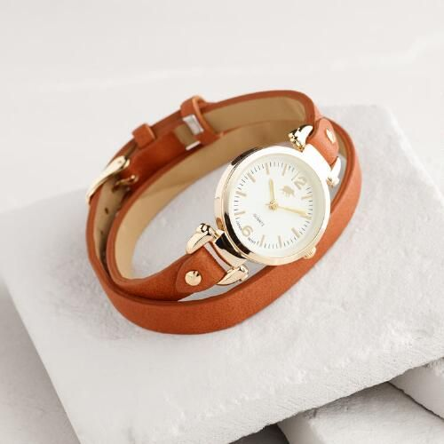 One of my favorite discoveries at WorldMarket.com: Brown Faux Leather Double Wrap Watch