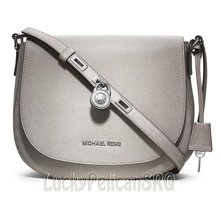 Michael Kors Pearl Grey Large Hamilton Saffiano Messenger Crossbody Bag NWT  #MichaelKors #MessengerCrossBody