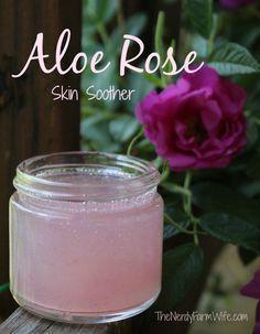 Aloe Rose Skin Soothing Gel - for sunburns, bug bites, rashes, acne, etc. #DIY #skincare