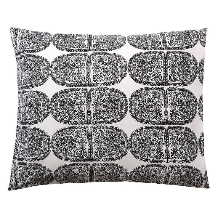 Tantsu pillow case, White/Black - Maija Isola & Kristina Isola - Marimekko - RoyalDesign.com #marimekko #design #interiordesign #bedroom #bedroomdesign #bed #pillow #pillowcase #royaldesign