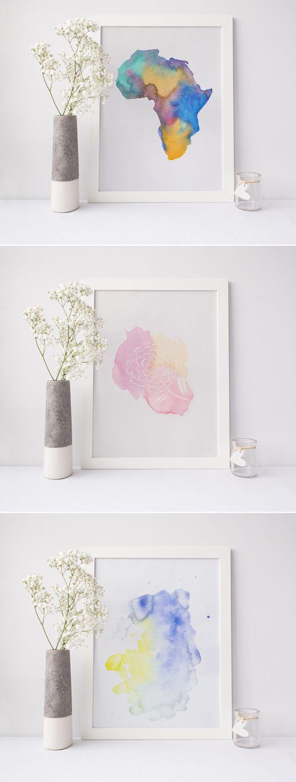 Wandgestaltung Aquarell / Afrika / Blume / Abstrakte Malerei / Deko / Etsyshop / Watercolor painting / Wall Decor