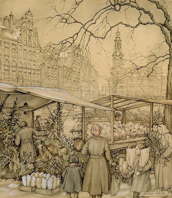 Anton Pieck (Dutch, 1895–1987) The Flowermarket At The Singel In Amsterdam Around Christmas Time