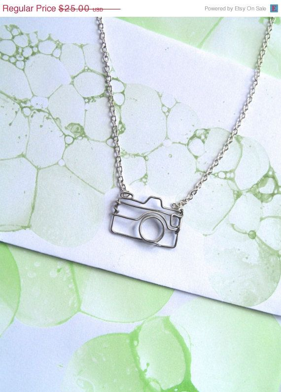Camera Necklace - Gift for a Photographer - Silver Wire Camera Outline - nikon, canon on Etsy, $25.00