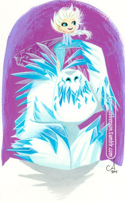 Ice Ogres are a girl's best friend. Playing around with acrylics.-by Amy Mebberson