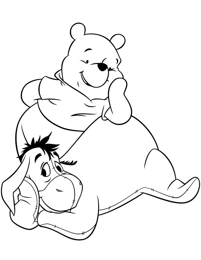 Eeyore And Winnie The Pooh Coloring Pages For Kids Printable